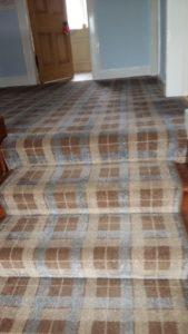 Photo of blue grey Tartan Stair and landing carpet - PS Carpets